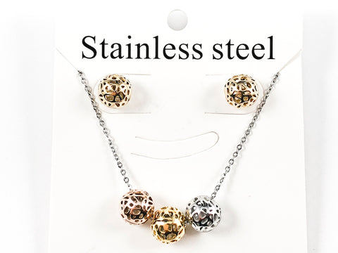 Unique Round Shiny Metallic Hollow Textured Tri Color & Tone Earring Necklace Steel Set