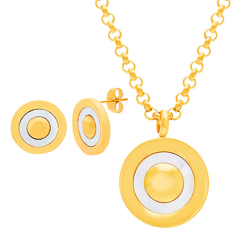 Elegant Round Bullseye Design Earring Necklace Set
