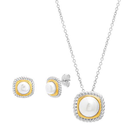 Modern 2 Tone Rounded Square Shaped With Pearl Center Earring Necklace Steel Set