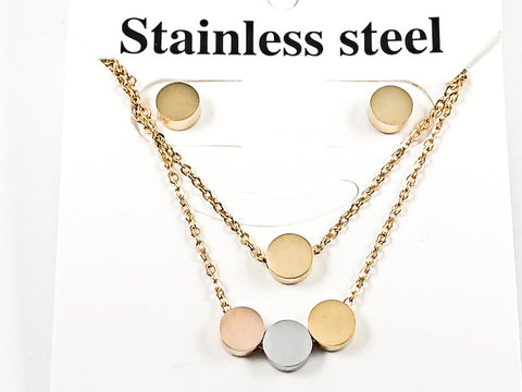 Nice Tri Tone & Color Shiny Metallic Circular Disc Layered Necklace Earring Gold Tone Steel Set