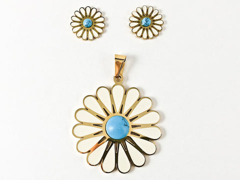Nice Cute Sunflower Design With Center Turquoise Steel Set