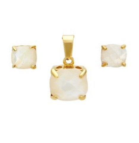 Modern Elegant Square Cut MOP Pendant Earring Steel Set