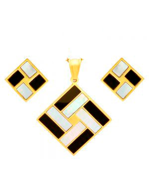 Classic Art Deco Design Pendant Earring Steel Set