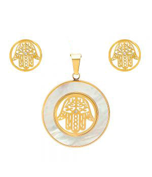 Modern Round Hamsa Hand With MOP Frame Pendant Earring Steel Set