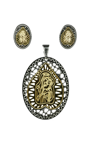 Classic 2 Tone Religious Figure With Child Pendant Earring Steel Set