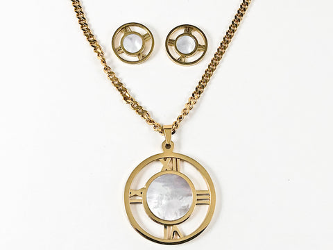 Classic Large Round Center Mother Of Pearl Open Roman Numeral Necklace Earring Steel Set