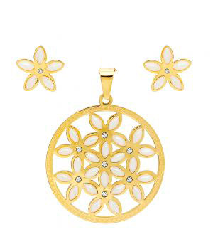 Elegant Large Round Flower Of Life With Synthetic Pearl Pendant Earring Steel Set
