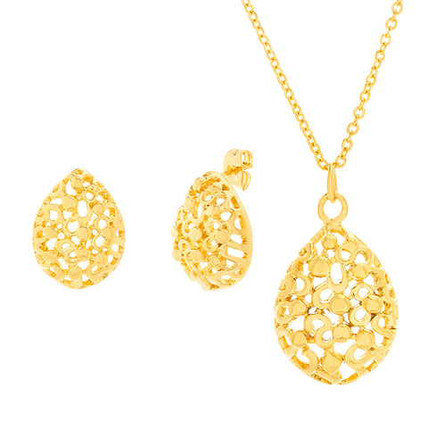 Modern Unique Textured Pattern Pear Shaped Earring Necklace Steel Set