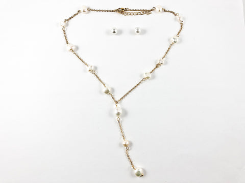 Modern Multi Pearl Strand Tie Design Gold Tone Necklace Earring Steel Set