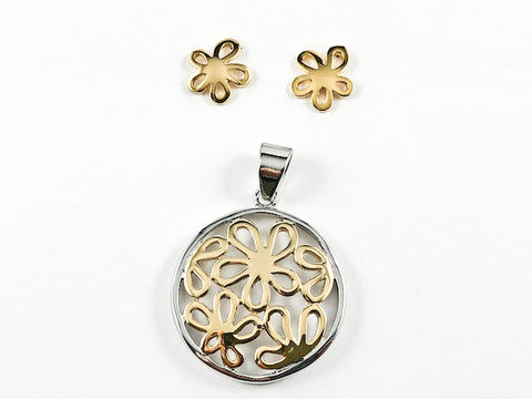 Elegant Classic 2 Tone Multiple Flower Design Steel Set