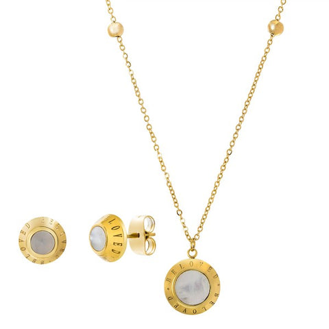 Modern Mother Of Pearl Disc Design Necklace Earring Steel Set.