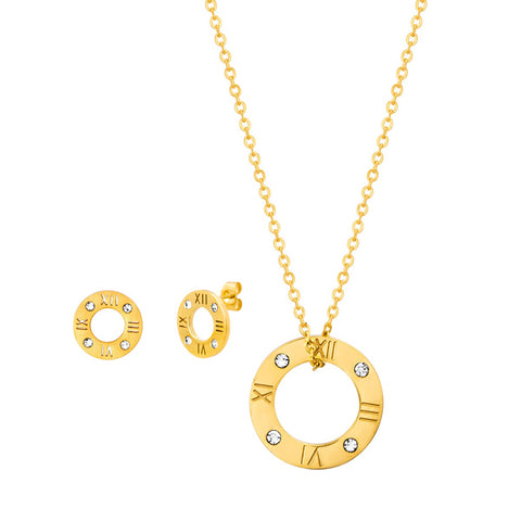 Modern Roman Numeral Open Circle Crystal Necklace Earring Steel Set