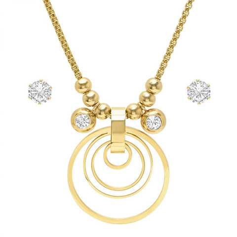 Elegant Fine Layered Circle With Mother Of Pearl Bezel CZ Charm CZ Stud Earring Necklace Gold Tone Steel Set
