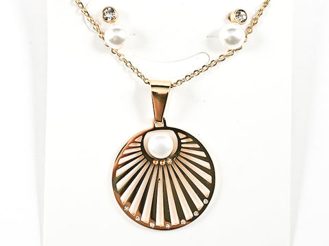 Round Geometric Design Pendant With Round Pearl Bezel CZ Earring Necklace Steel Set