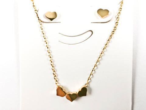 Cute Triple Micro Heart Pendant Single Heart Gold Tone Earring Necklace Steel Set