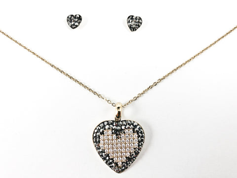 Unique Beaded Crystal Stone Heart Design Pendant & Earring Necklace Gold Tone Steel Set