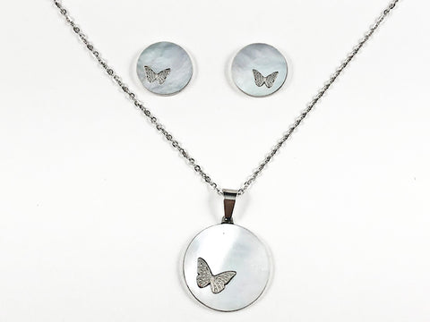 Beautiful Round Mother Of Pearl Disc With Cute Butterfly Design Silver Tone Earring Necklace Set