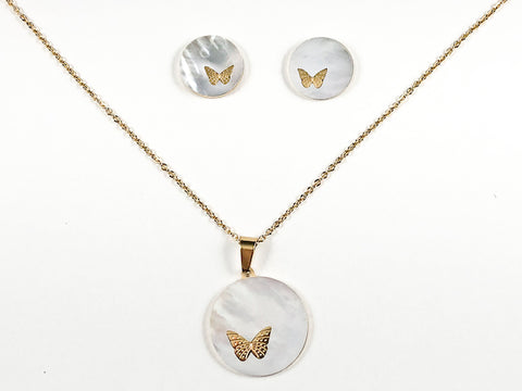 Beautiful Round Mother Of Pearl Disc With Cute Butterfly Design Gold Tone Earring Necklace Set