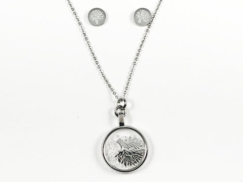 Beautiful Round Glass With Inside Tree Of Life Design Silver Tone Earring Necklace Set