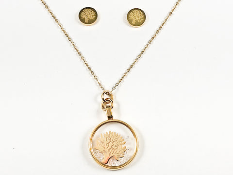 Beautiful Round Glass With Inside Tree Of Life Design Gold Tone Earring Necklace Set