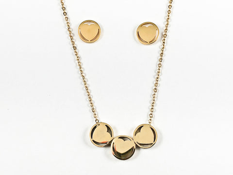 Nice Shiny Metallic Round Shape Center Heart 3 Piece Pendant Design Gold Tone Earring Necklace Set Steel