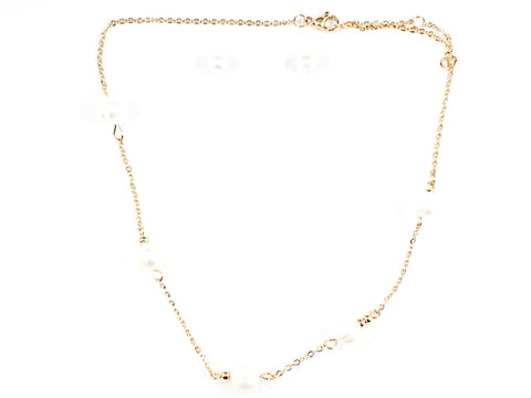 Beautiful Multi Pearl Charm Necklace Earring Gold Tone Steel Set