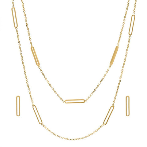 Beautiful Layered Dainty Paper Clip Style Posts Gold Tone Earring Necklace Steel Set