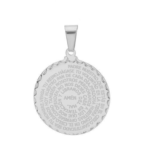 Classic Round Disc Spanish Padre Nuestro Prayer Steel Pendant