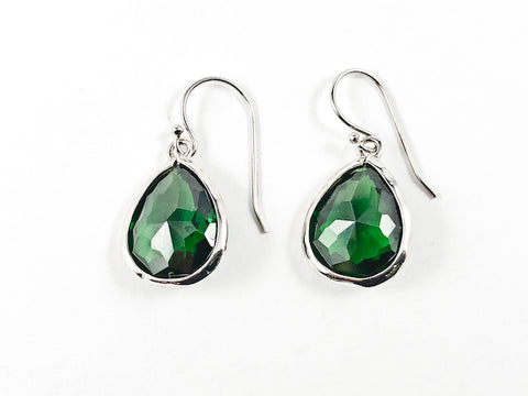 Nice Single Tear Drop Detailed Cut Emerald Color CZ Fish Hook Silver Earrings