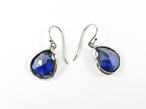 Nice Single Tear Drop Detailed Cut Sapphire Color CZ Fish Hook Silver Earrings