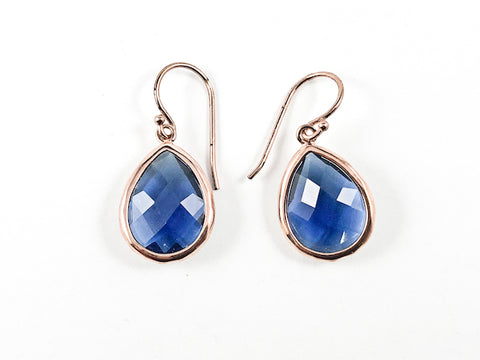 Nice Single Tear Drop Detailed Cut Sapphire Color CZ Pink Gold Tone Fish Hook Silver Earrings