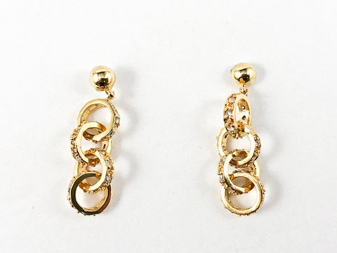Dainty Interlocked Rings Design Drop Gold Tone Silver Earrings