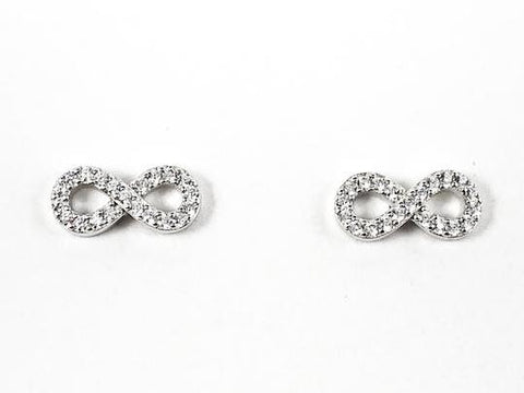 Cute Dainty Infinity CZ Silver Earrings