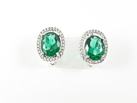 Beautiful Layered Oval Shape Center Emerald Color CZ Latch Back Silver Earrings