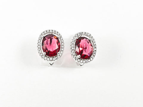 Beautiful Layered Oval Shape Center Ruby Color CZ Latch Back Silver Earrings