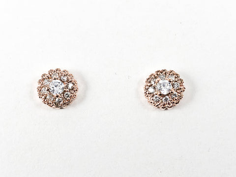 Beautiful Dainty Round Shape Layered CZ Pink Gold Tone Silver Earrings