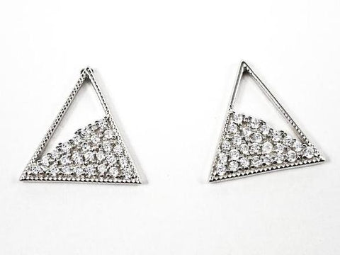 Elegant Fine Triangle With Loose CZ Design Silver Earrings