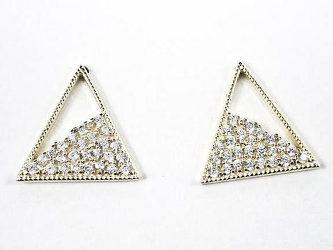 Elegant Fine Triangle With Loose CZ Design Gold Tone Silver Earrings