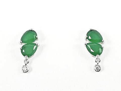 Beautiful Jade CZ Bezel Drop Silver Earrings