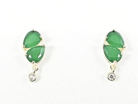 Beautiful Jade CZ Bezel Drop Gold Tone Silver Earrings