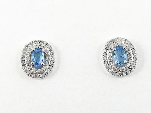 Elegant Oval Shape Layered Design Aquamarine Center CZ Stud Earrings