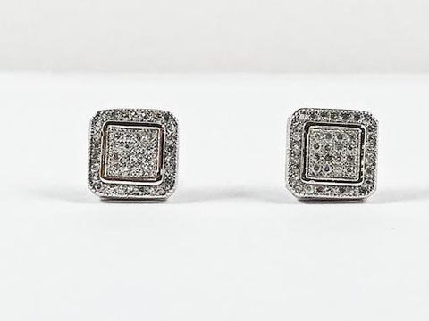 Elegant Fine Pave Style Settings Square Stud CZ Silver Earrings