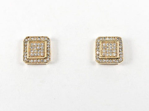 Elegant Fine Pave Style Settings Square Stud CZ Gold Tone Silver Earrings