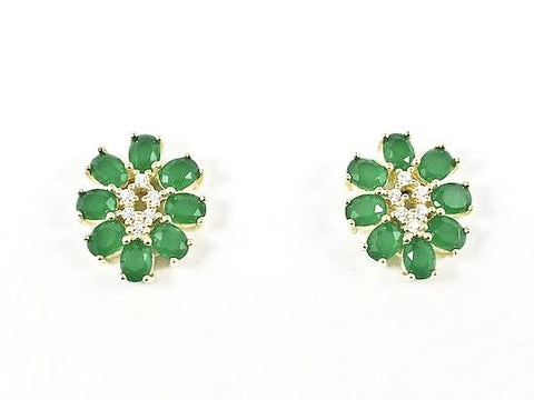 Beautiful Oval Shape Floral Design Jade CZ Gold Tone Silver Earrings