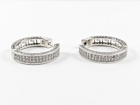 Elegant Fine Pave Style Safe Lock Clasp Hoop CZ Silver Earrings