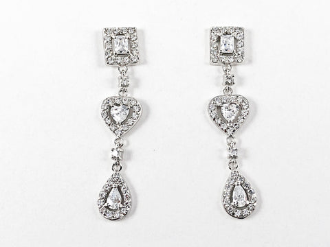 Elegant Mix Shape Design Dangle CZ Silver Earrings