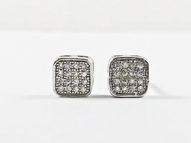 Dainty Elegant CZ Square Stud Silver Earrings