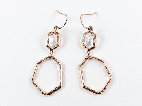 Unique Textured Hexagon Shape Dangle Pink Gold Tone Silver Earrings
