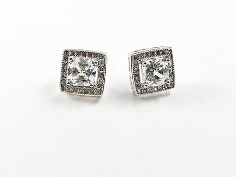 Elegant Layered Square Center CZ Silver Stud Earrings