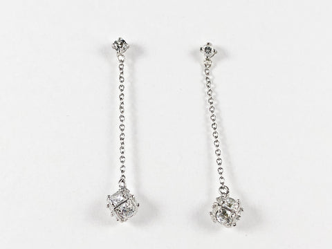 Thin Chain With Unique Cube CZ Dangle Silver Earrings